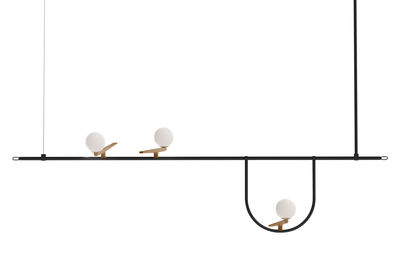 Lighting - Pendant Lighting - Yanzi S1 Pendant - / LED - L 156 cm by Artemide - Black & brass / White spheres - Blown glass, Brass, Lacquered steel