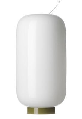 Leuchten - Pendelleuchten - Chouchin  Reverse n°2 Pendelleuchte / Ø 22 cm x H 43 cm - Foscarini - Weiß / Abschlussstreifen grün - Glas, mundgeblasen, lackiert