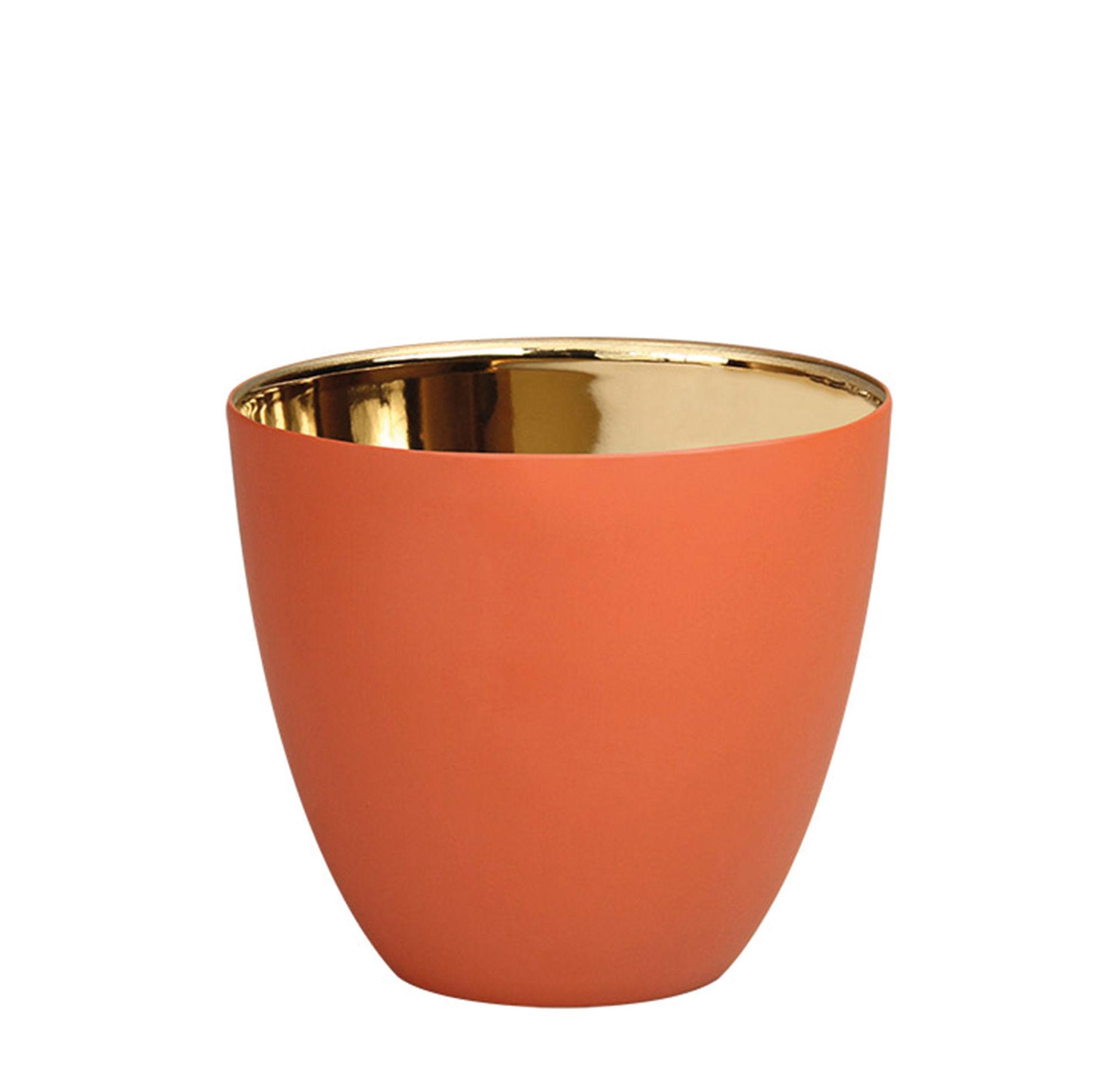 Interni - Candele, Portacandele, Lampade - Portacandela Summer Small - / H 6,5 cm - Porcellana di & klevering - Terracotta / Or - Porcellana