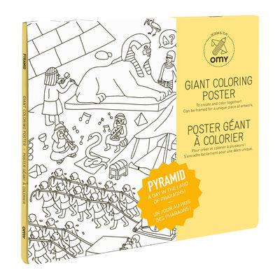 Poster à colorier Pyramides / 100 x 70 cm - OMY Design & Play blanc/noir en papier