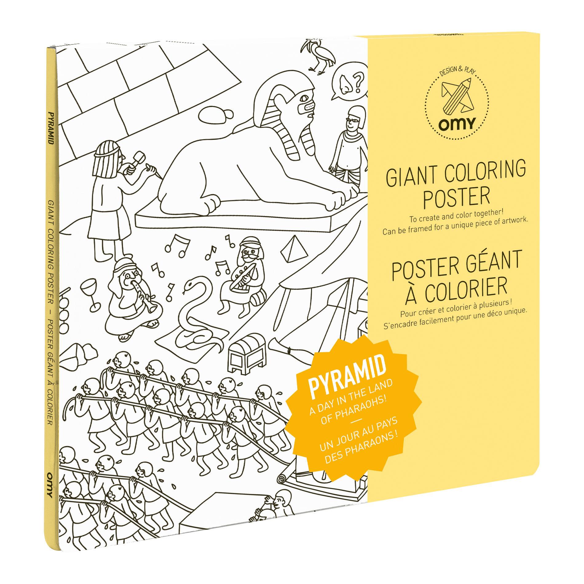Déco - Pour les enfants - Poster à colorier Pyramides / 100 x 70 cm - OMY Design & Play - Pyramides - Papier recyclé