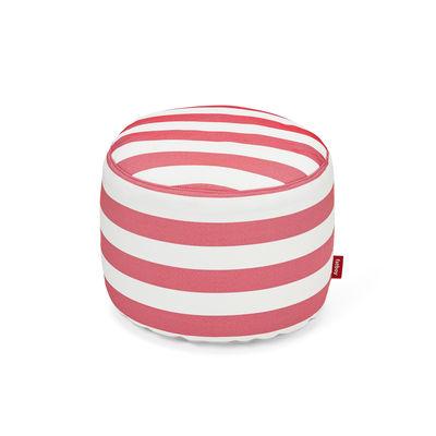 Mobilier - Poufs - Pouf Point Outdoor / Sunbrella - Ø 50 cm - Fatboy - Rayé rouge - Polyester, Polystyrène expansé, Tissu Sunbrella