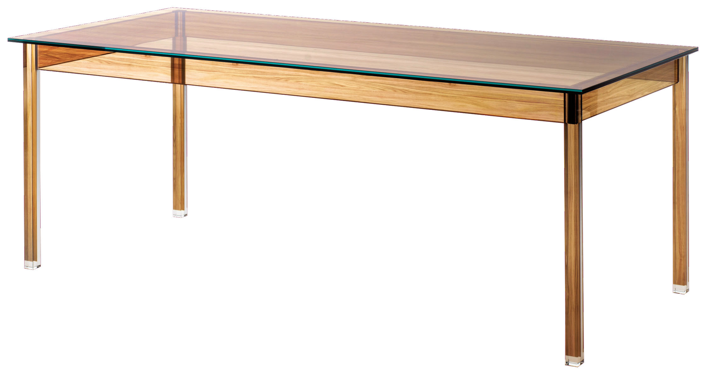 Furniture - Dining Tables - Sublimazione Rectangular table by Glas Italia - Transparent / Wood - Printed glass