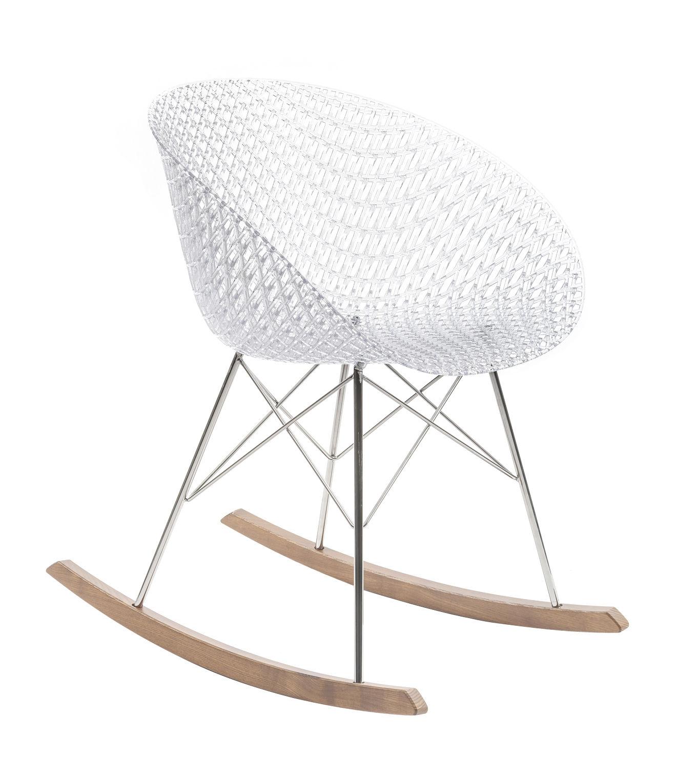 Mobilier - Fauteuils - Rocking chair Smatrik / Patins bois - Kartell - Cristal - Acier chromé, Bois, Polycarbonate