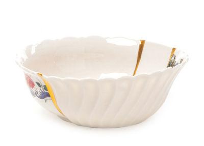 Tableware - Bowls - Kintsugi n°2 Salad bowl - / Ø 19 x H 7 cm - Porcelain & fine gold by Seletti - no. 2 / White, gold & multicoloured - China, Fine gold