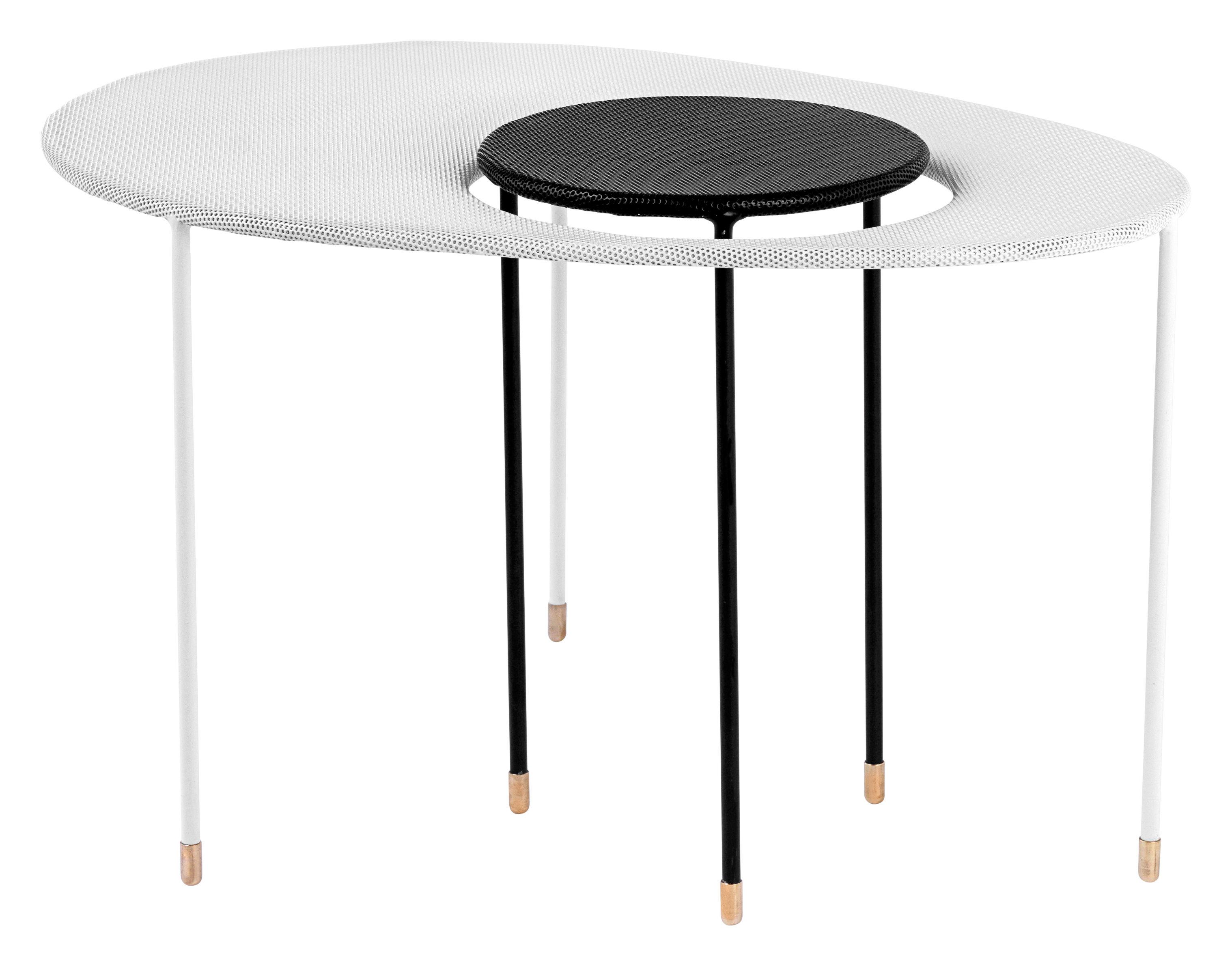 Möbel - Couchtische - Kangourou Satz-Tische Set von 2 ineinandergestellten Tischen - Neuauflage aus den 50er Jahren - Gubi - Schwarz/weiß - rostfreier Stahl
