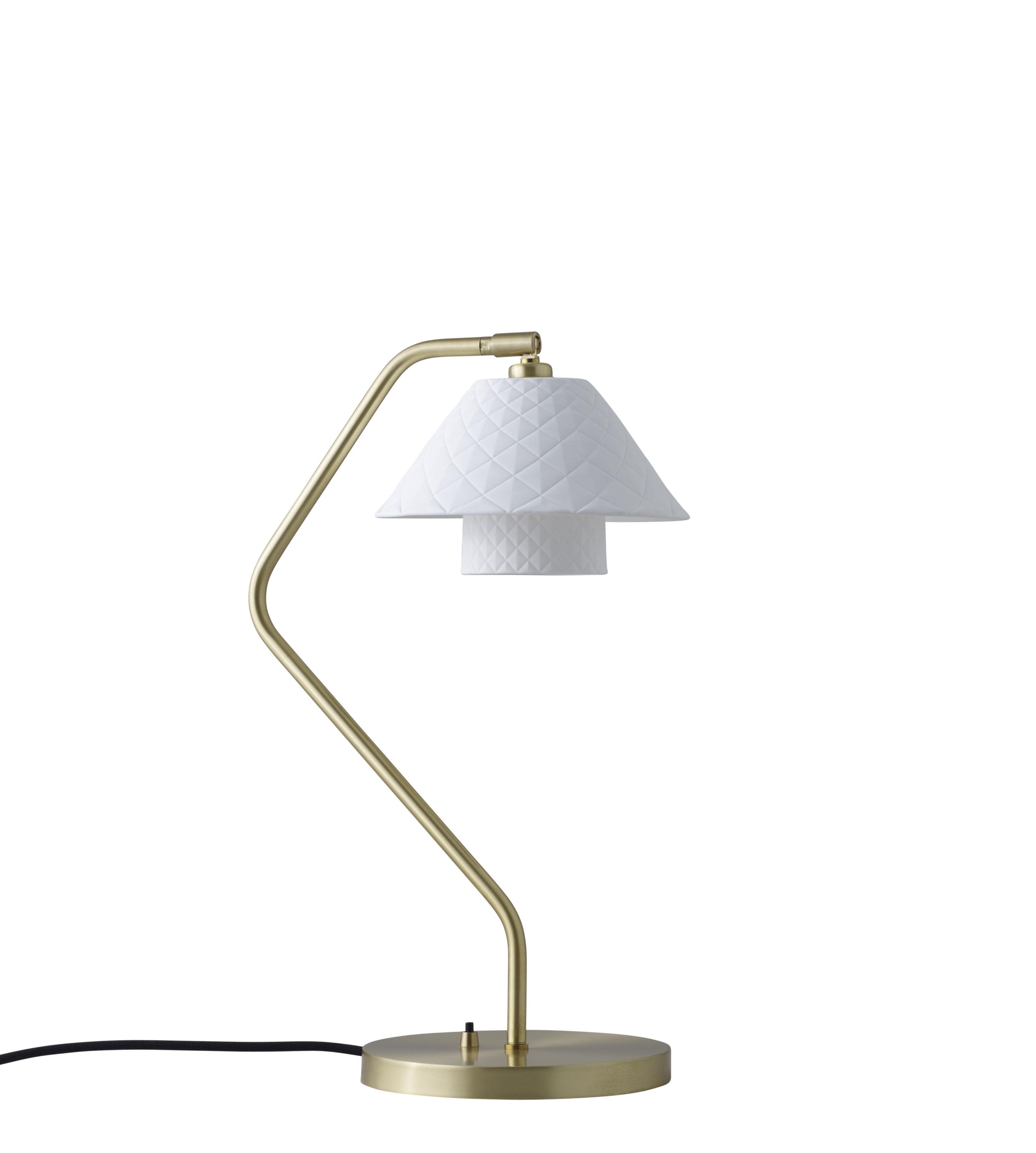 Leuchten - Arbeitsleuchten - Oxford Double Schreibtischlampe / satiniertes Messing & Porzellan - Original BTC - Mattweiß / Messing, satiniert - Messing, Porzellan