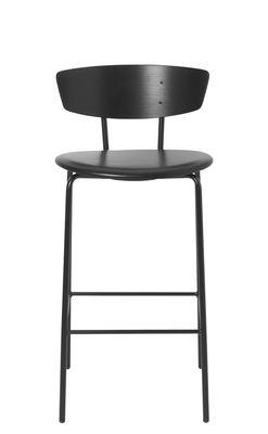 Arredamento - Sgabelli da bar  - Sedia da bar Herman - / H 64 cm - Cuoio di Ferm Living - H 64 cm / Cuoio nero - Acciaio laccato, Compensato di rovere laccato, Pelle anilina