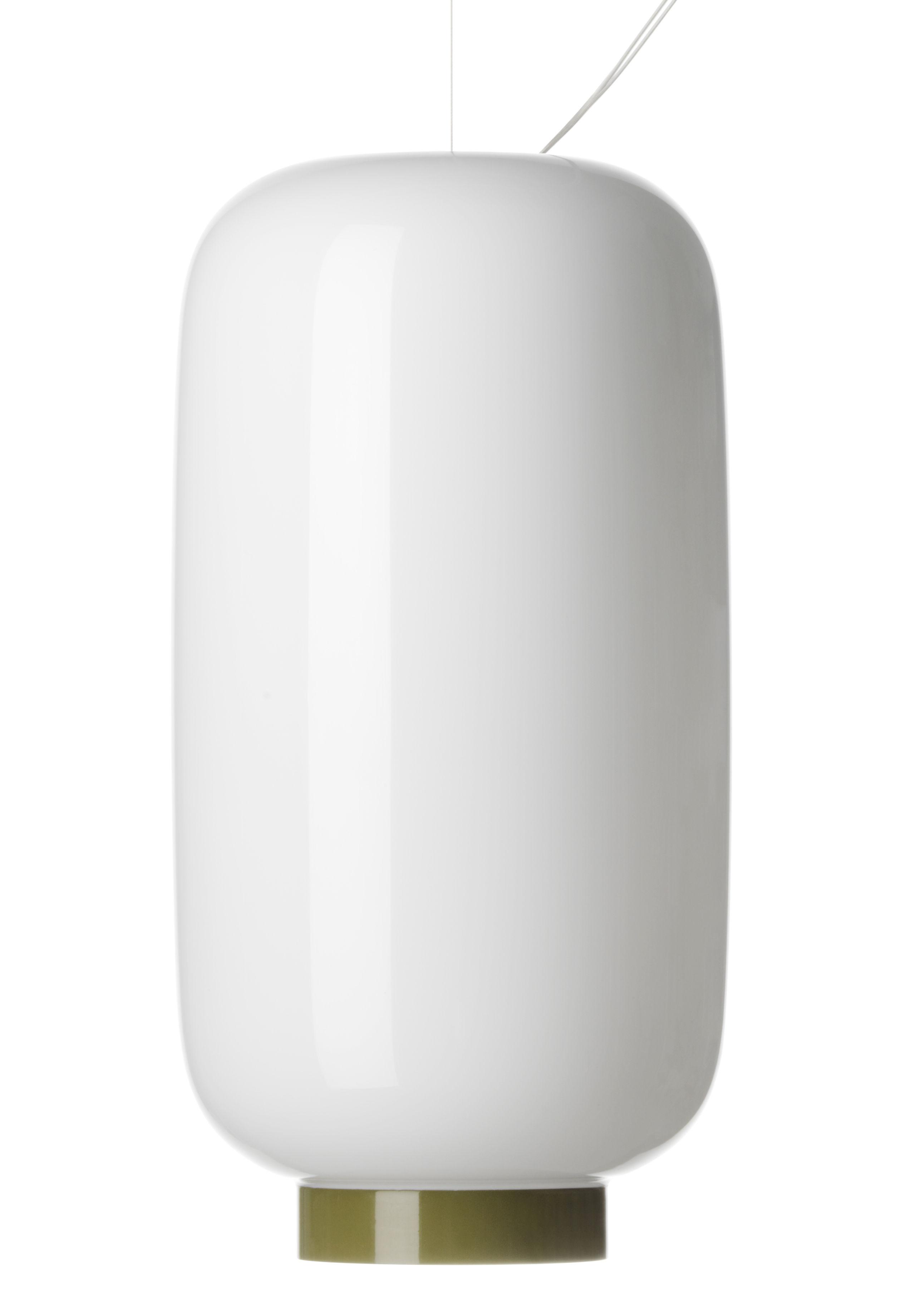 Illuminazione - Lampadari - Sospensione Chouchin Reverse n°2 / Ø 22 cm x H 43 cm - Foscarini - Bianco / Striscia verde - Vetro soffiato a bocca laccato