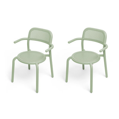Furniture - Chairs - Toní Stackable armchair - / Set of 2 - Perforated aluminium by Fatboy - Green - Aluminium