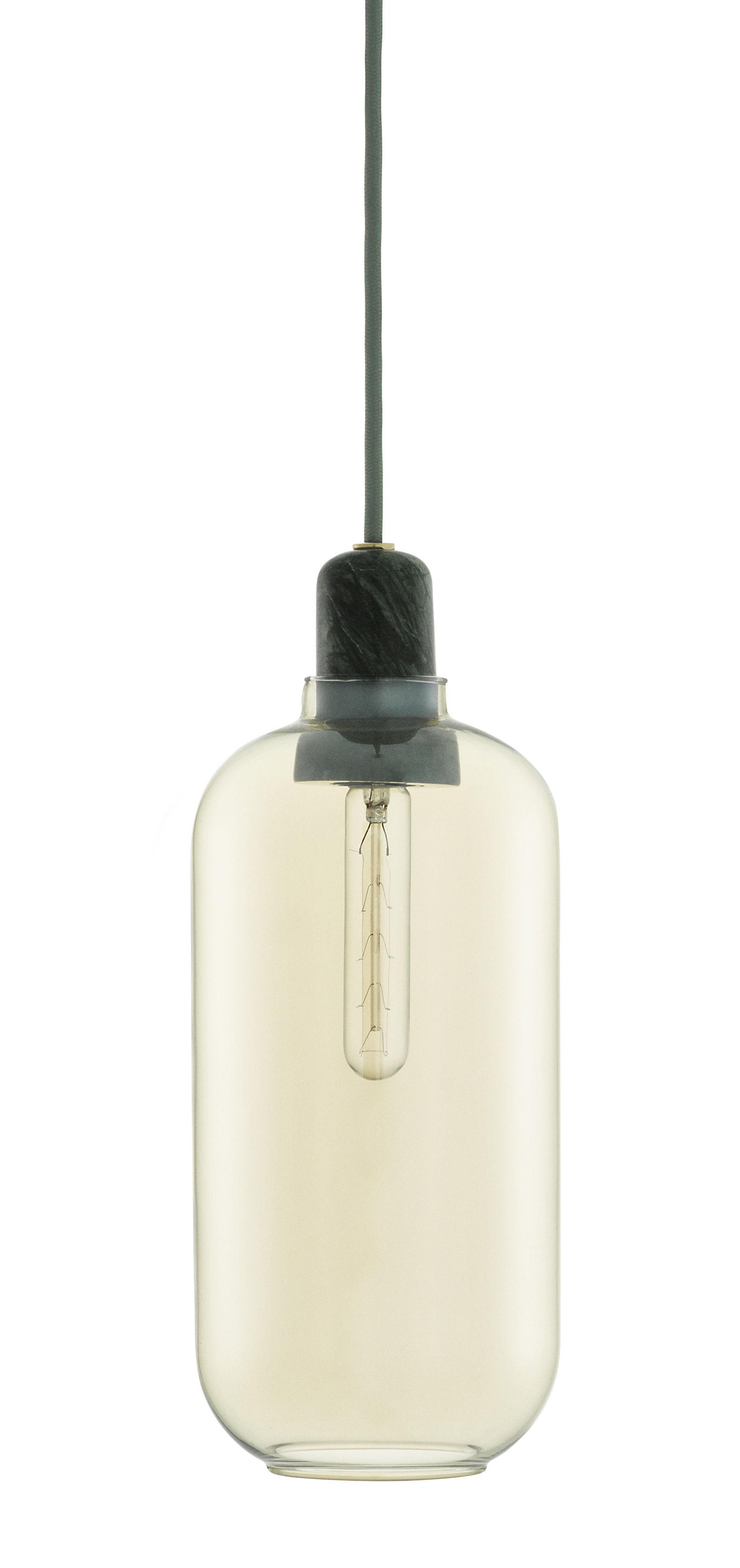 Luminaire - Suspensions - Suspension Amp Large / Ø 11,2 x H 26 cm - Verre & marbre - Normann Copenhagen - Doré / Marbre vert jade - Marbre, Verre
