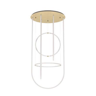 Suspension Unseen LED / Chandelier - Ø 100 x  H 210 cm - Petite Friture blanc,laiton en matière plastique