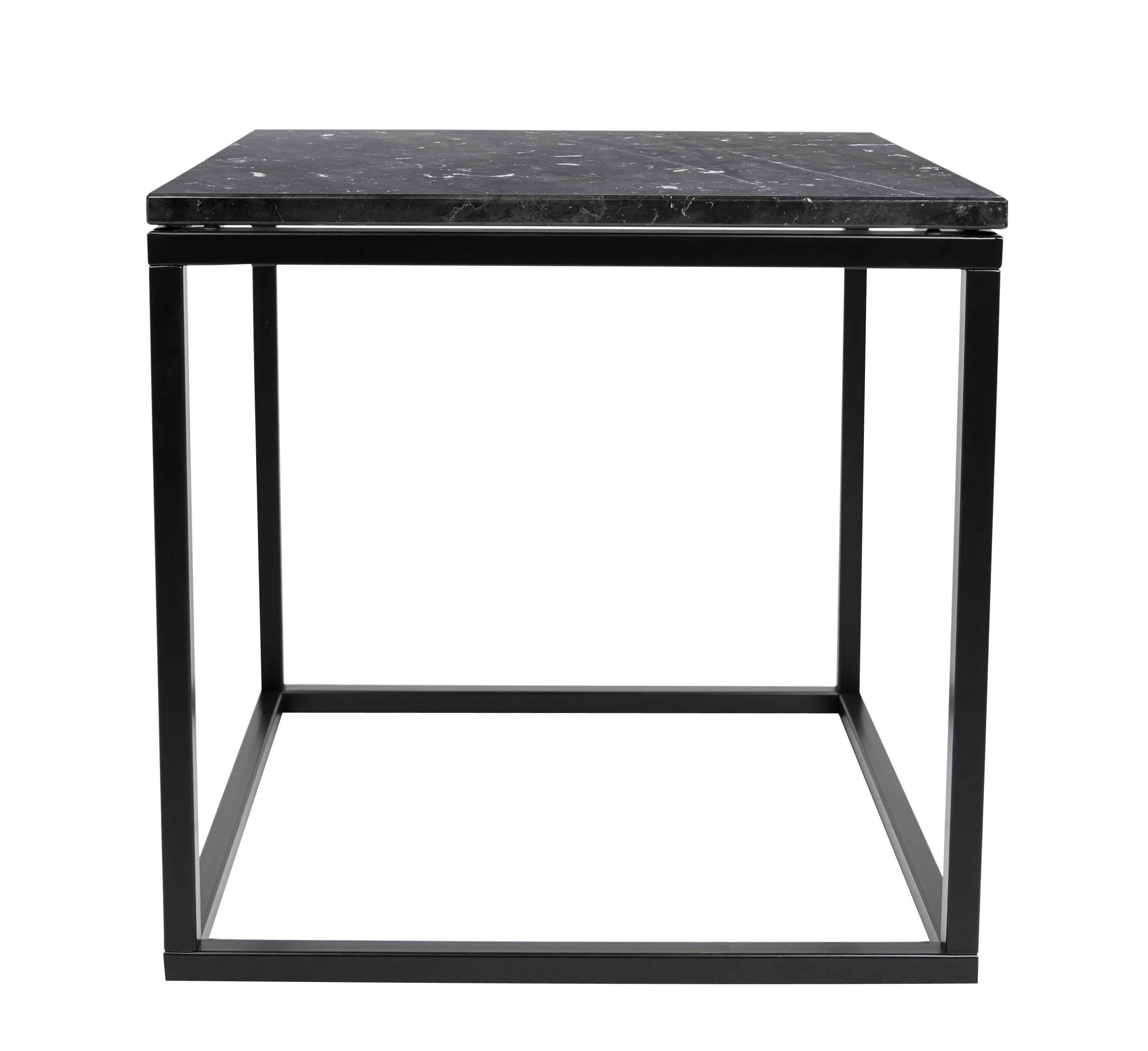 Mobilier - Tables basses - Table basse Marble / Marbre - 50 x 50cm - POP UP HOME - Marbre noir / Pied noir - Acier laqué, Marbre