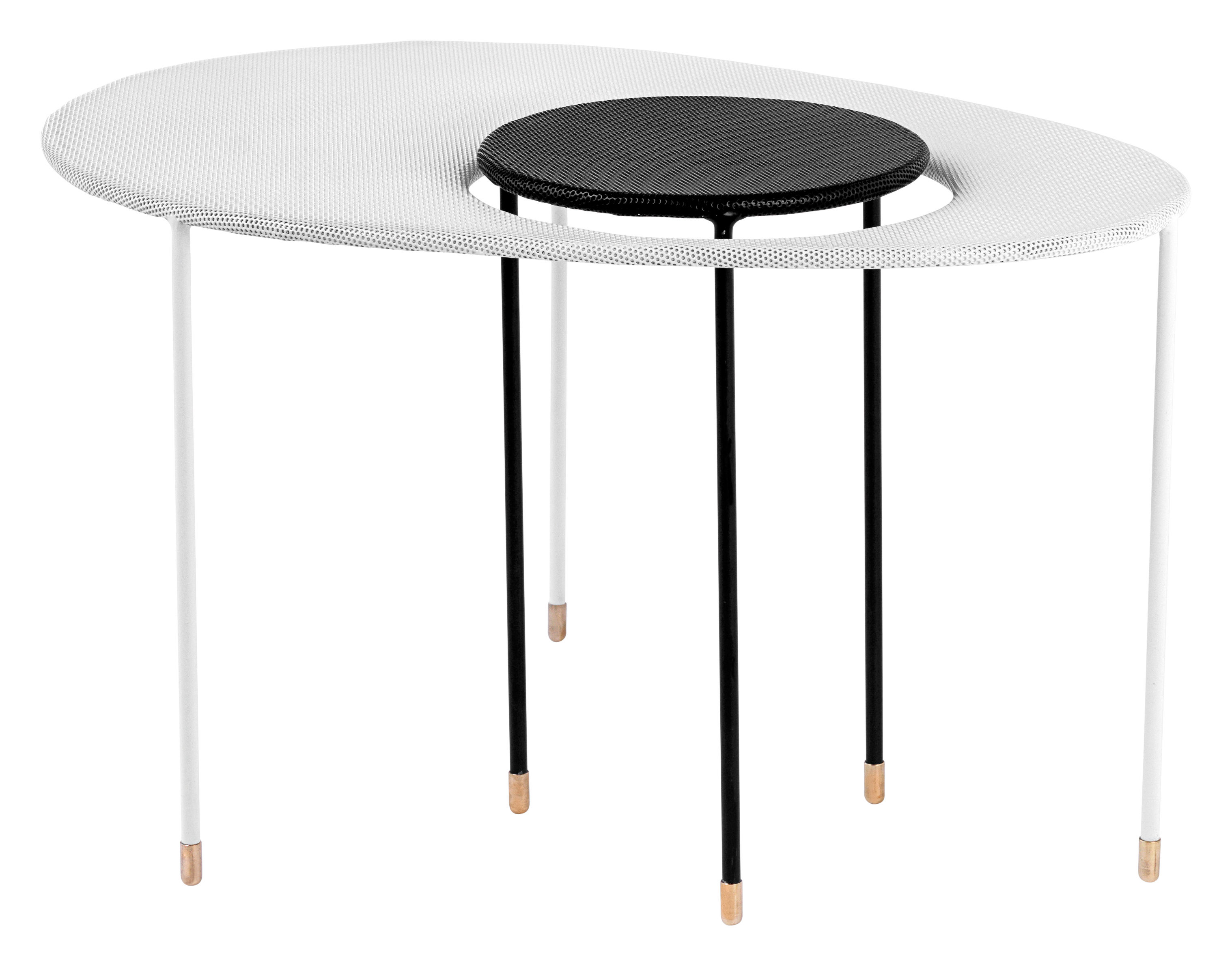 Arredamento - Tavolini  - Tavolini estraibili Kangourou - Set 2 tavoli sovrapponibili - Rieditata 50' di Gubi - Bianco / nero - Acciaio inossidabile