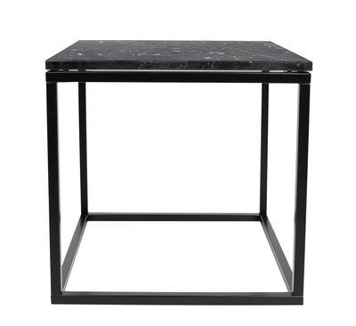 Arredamento - Tavolini  - Tavolino basso Prairie / Marmo - 50 x 50cm - POP UP HOME - Marmo bianco / Piede nero - Acciaio laccato, Marmo