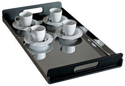 Tableware - Trays - Vassily Tray by Alessi - L 45 cm - Black & steel - PMMA, Polished stainless steel
