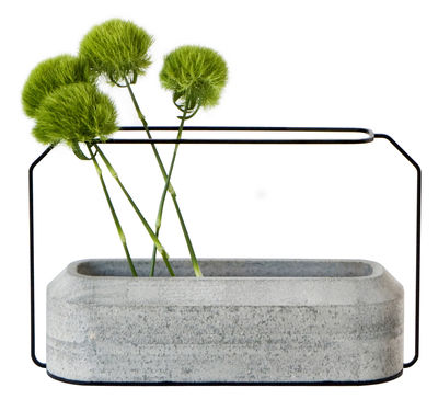 Vase Weight A / L 37 x H 22 cm - Spécimen Editions gris béton en métal