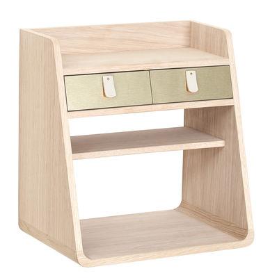 Möbel - Regale und Bücherregale - Suzon Wandablage / 36 x 39,5 cm - Hartô - Holz, natur / Messing, gebürstet - Holzfaserplatte, Leder