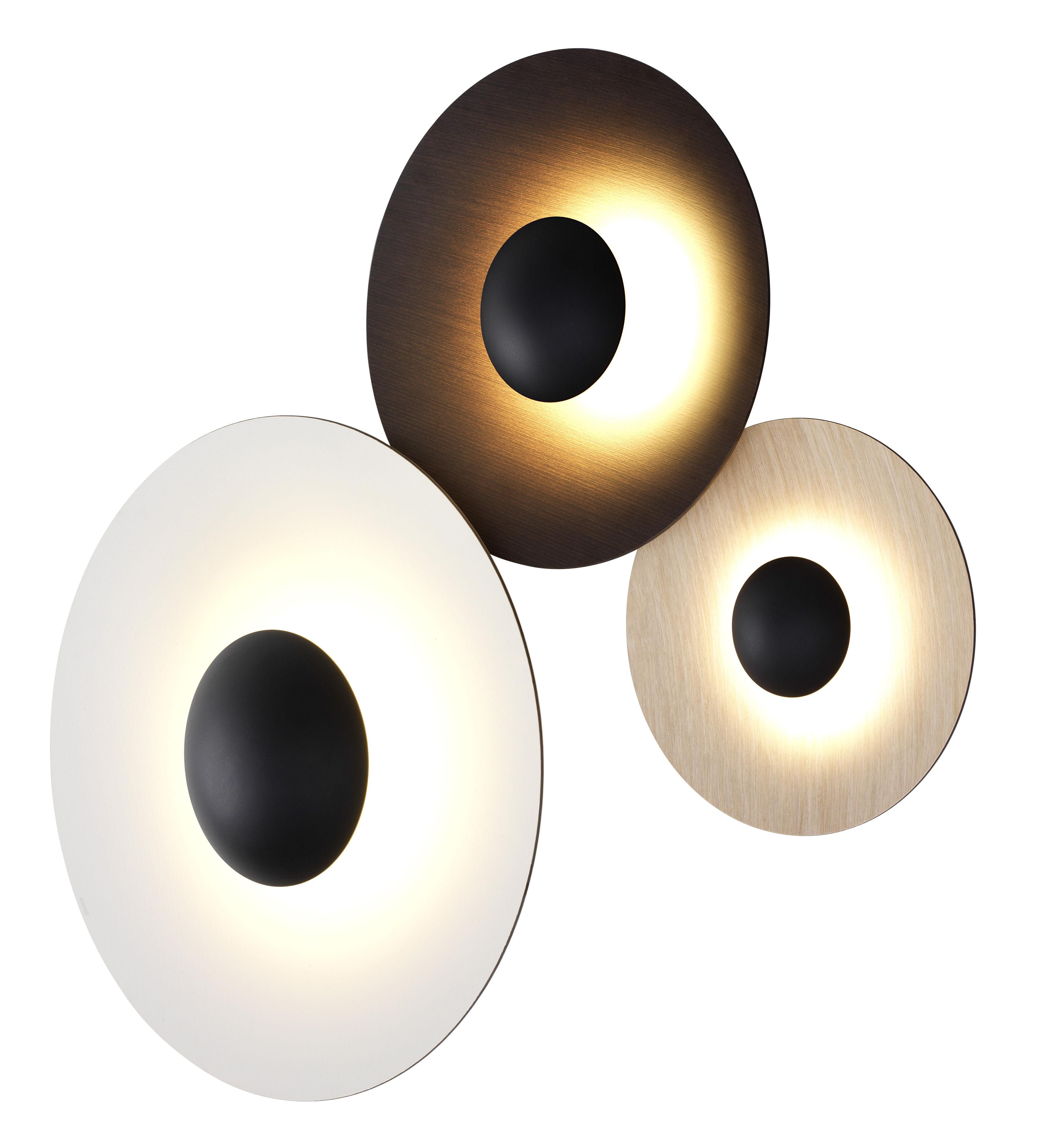 Illuminazione - Lampade da parete - Applique Ginger Tripla / Ø 32, 42 & 60 cm - Legno - Marset - Bianco / Rovere / Wengé - Compensato di rovere, Compensato di wengé, metallo laccato