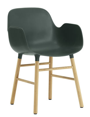 Furniture - Chairs - Form Armchair - Oak leg by Normann Copenhagen - Green / oak - Oak, Polypropylene