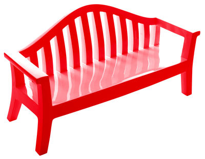 Furniture - Benches - Giulietta Bench with backrest by Serralunga - Red - Polythene
