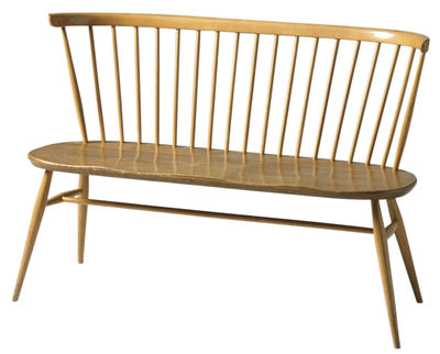Furniture - Benches - Love Seat Bench with backrest - Reissue 1955 by Ercol - Beech & elm - Natural beechwood, Solid elm