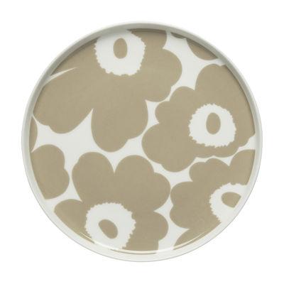 Tableware - Plates - Unikko Dessert plate - / Ø 20 cm by Marimekko - Unikko / Beige - Sandstone