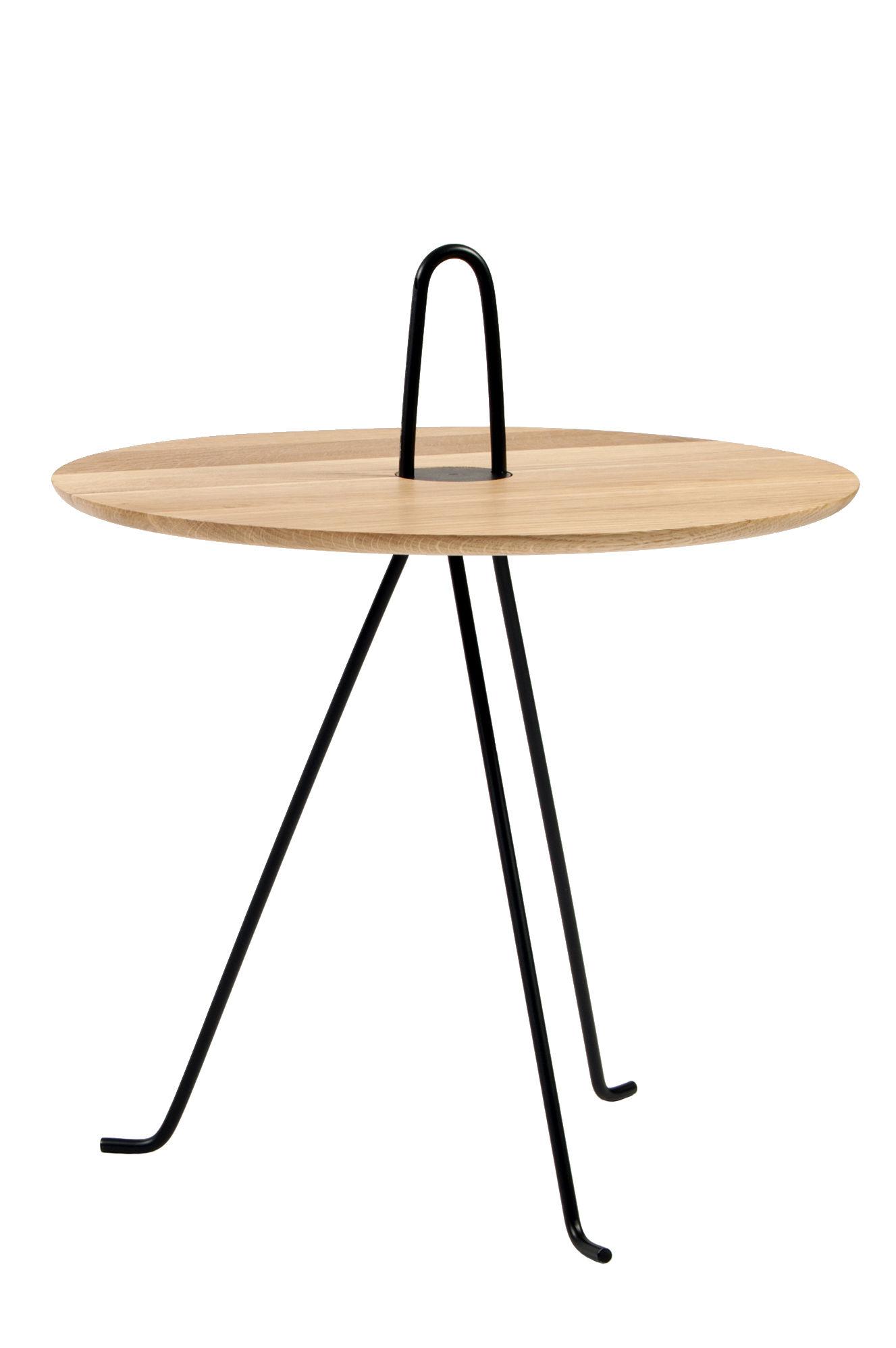 Furniture - Coffee Tables - Tipi End table - / Ø 42 x H 37 cm - Oak by Objekto - Natural oak / Black leg - Acier peint recyclé, Solid oak