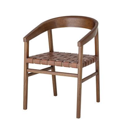 Mobilier - Chaises, fauteuils de salle à manger - Fauteuil Vitus / Bois & cuir tressé - Bloomingville - Cuir marron / Bois - Bois de Mindy, Cuir
