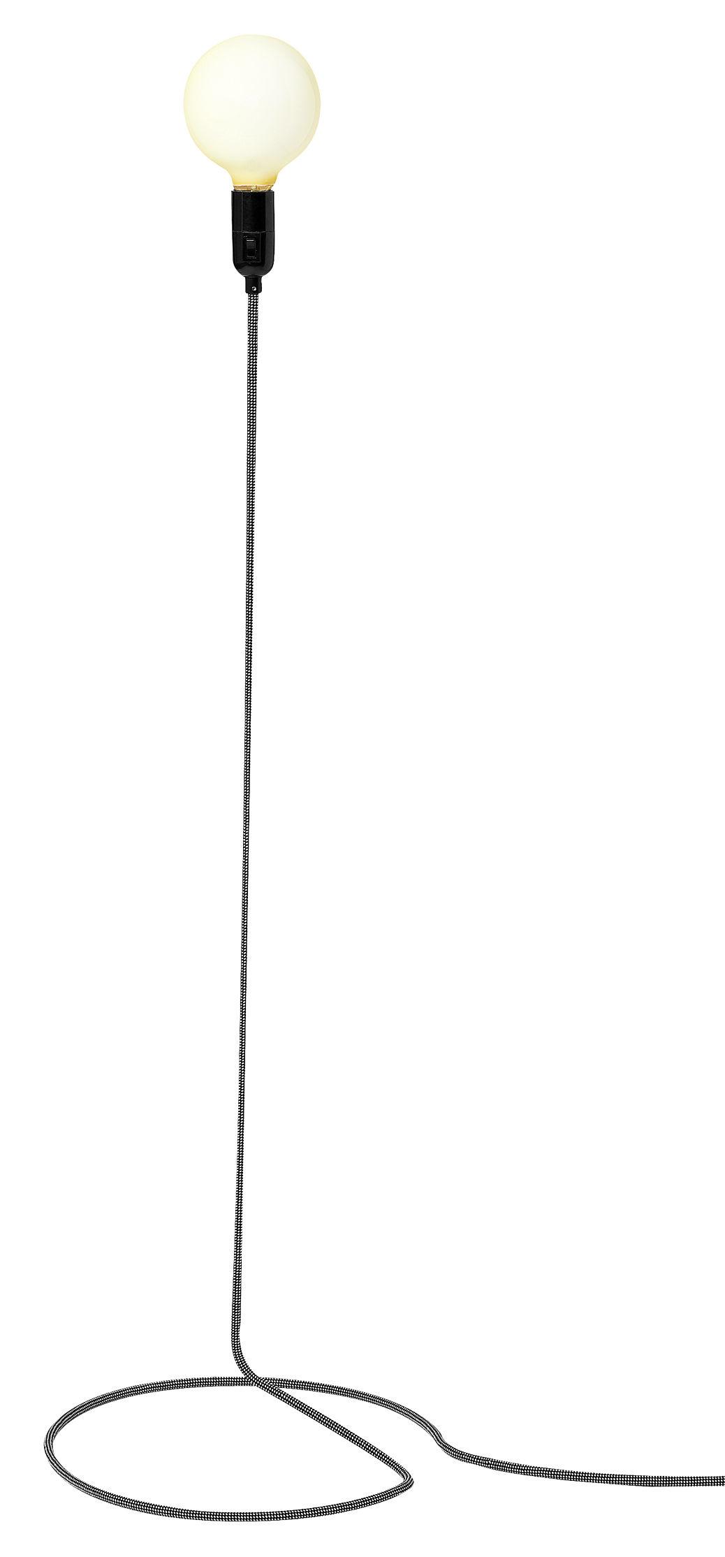 Illuminazione - Lampade da terra - Lampada a stelo Cord lamp di Design House Stockholm - Cordone bianco e nero - Acciaio, Cotone