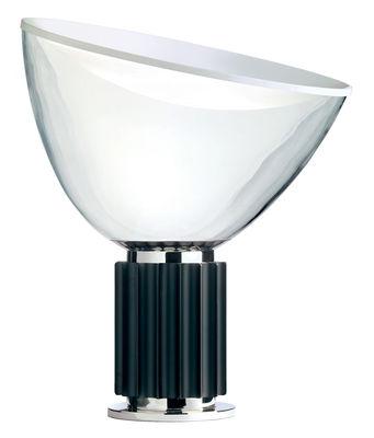 Luminaire - Lampes de table - Lampe de table Taccia LED / Diffuseur verre - H 54 cm - Flos - Base noire - Aluminium, Verre soufflé bouche