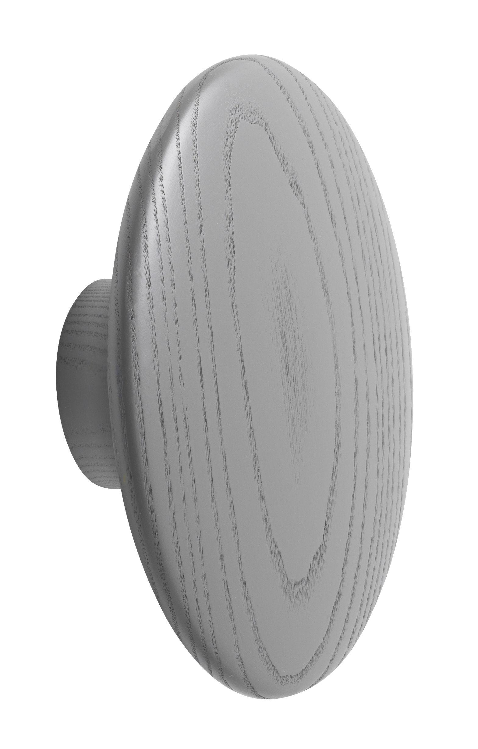 Mobilier - Portemanteaux, patères & portants - Patère The dots / Large - Ø 17 cm - Muuto - Gris foncé - Frêne teinté