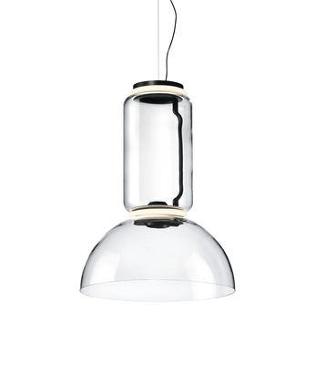 Lighting - Pendant Lighting - Noctambule Dôme n°1 Pendant - / LED - Ø 55 x H 75 cm by Flos - H 75 cm / Transparent - Blown glass, Cast aluminium, Steel
