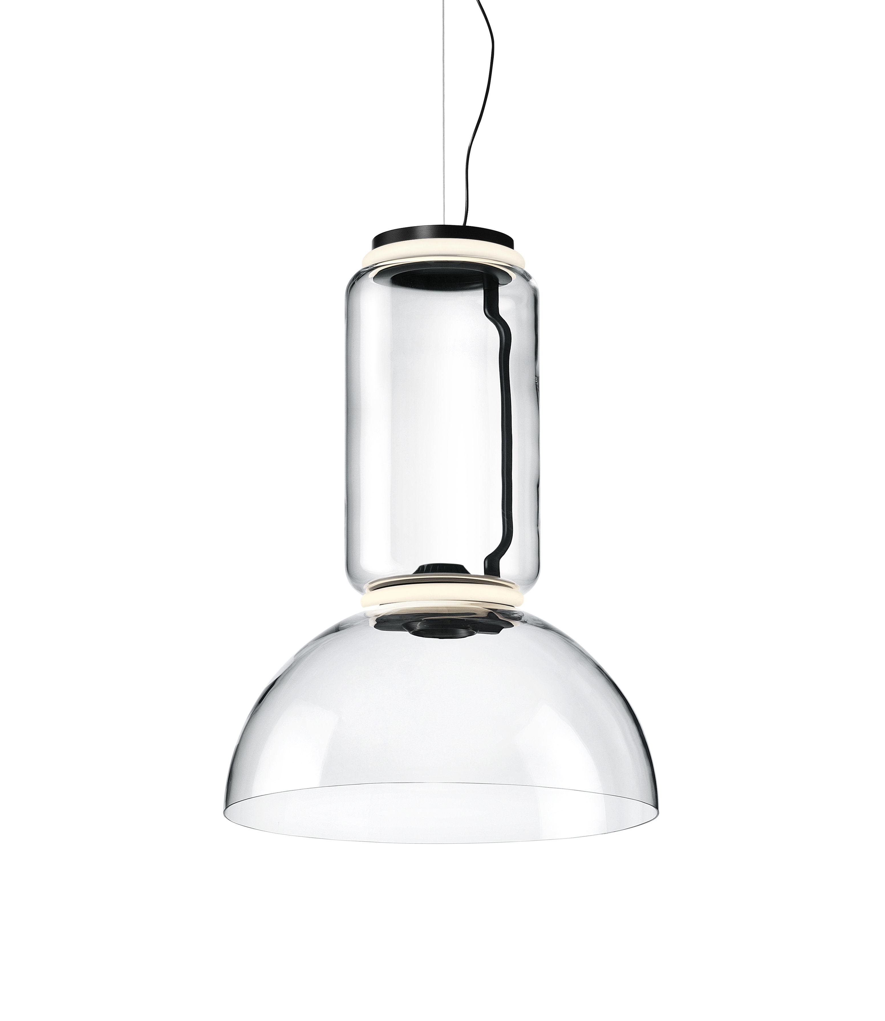 Lighting - Pendant Lighting - Noctambule Dôme n°1 Pendant - / LED - Ø 55 x H 75 cm by Flos - H 75 cm / Transparent - Blown glass, Cast aluminium, Steel