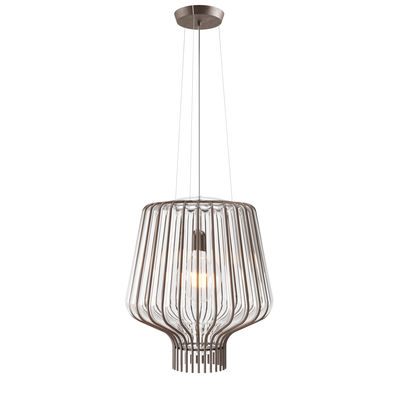 Lighting - Pendant Lighting - Saya Pendant - / Ø 40 x H 45 cm - / Glass & metal by Fabbian - Transparent / Brown metal structure - Blown glass, Metal