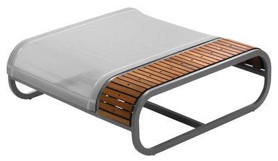 Furniture - Poufs & Floor Cushions - Tandem Pouf - Teak version by EGO Paris - Teck / Silver fabric - Batyline cloth, Lacquered aluminium, Teak
