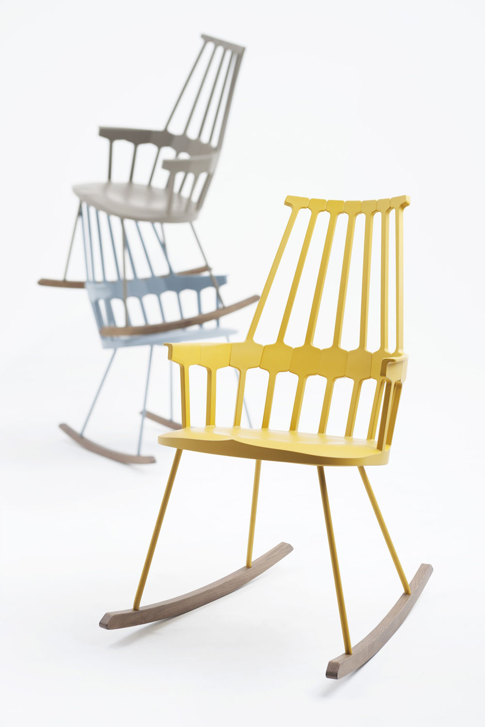 Furniture Armchairs Comback Rocking Chair By Kartell Yellow Wood Thermoplastic Technopolymer