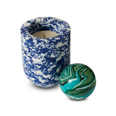 Decoration - Candles & Candle Holders - Swirl Ball Scented candle - / Spherical lid - Ø 10 x H 16 cm by Tom Dixon - Blue / Green sphere - Pigments, Recycled marble powder, Resin
