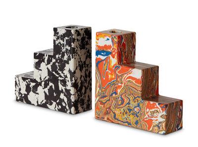 Déco - Bougeoirs, photophores - Serre-livres Swirl /  Bougeoirs - Set de 2 - Tom Dixon - Multicolore / Noir & blanc - Pigments, Poudre de marbre recyclée, Résine