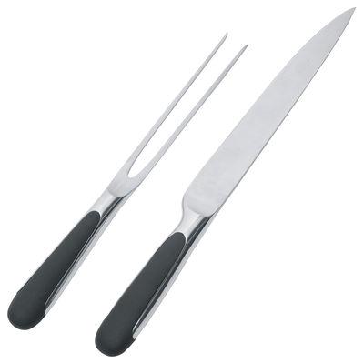Service à découper Mami / Set fourchette + couteau - Alessi noir,acier en métal