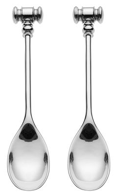 Tableware - Cutlery - Dressed Spoon - for eggs / Set of 2 by Alessi - Stainless steel - Stainless steel