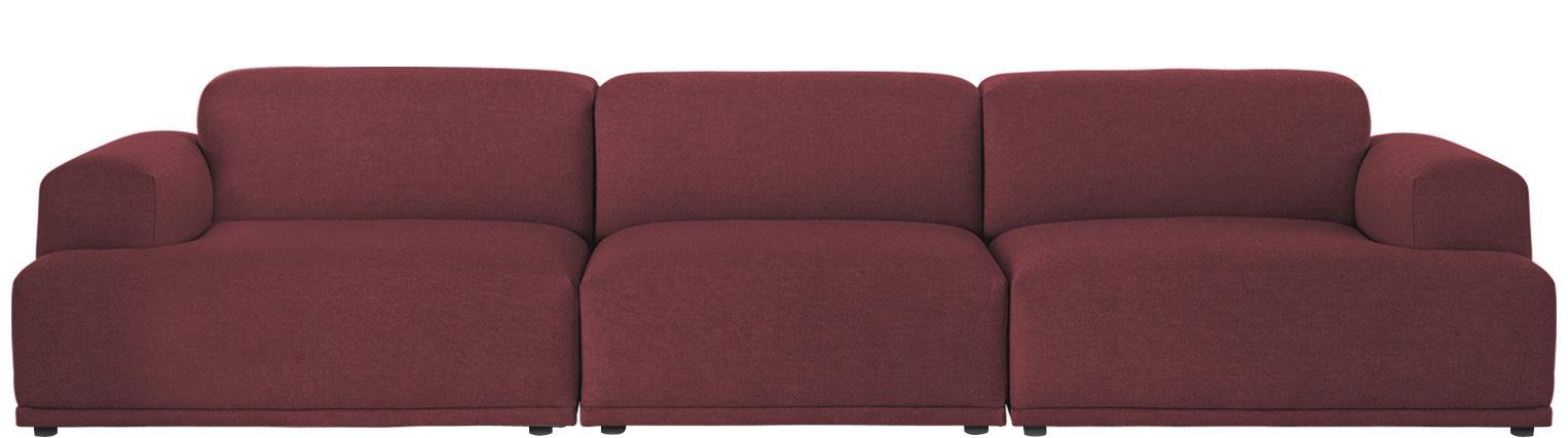 Furniture - Sofas - Connect Straight sofa - 3 modules - W 326 cm by Muuto - Burgundy - Foam, Kvadrat fabric, Wood