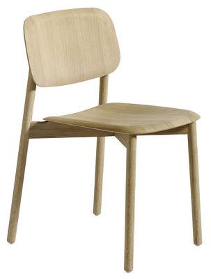 Möbel - Stühle  - Soft Edge Stuhl / Fußgestell Holz - Hay - Eiche natur - Eichenfurnier, gebeizt, massive Eiche