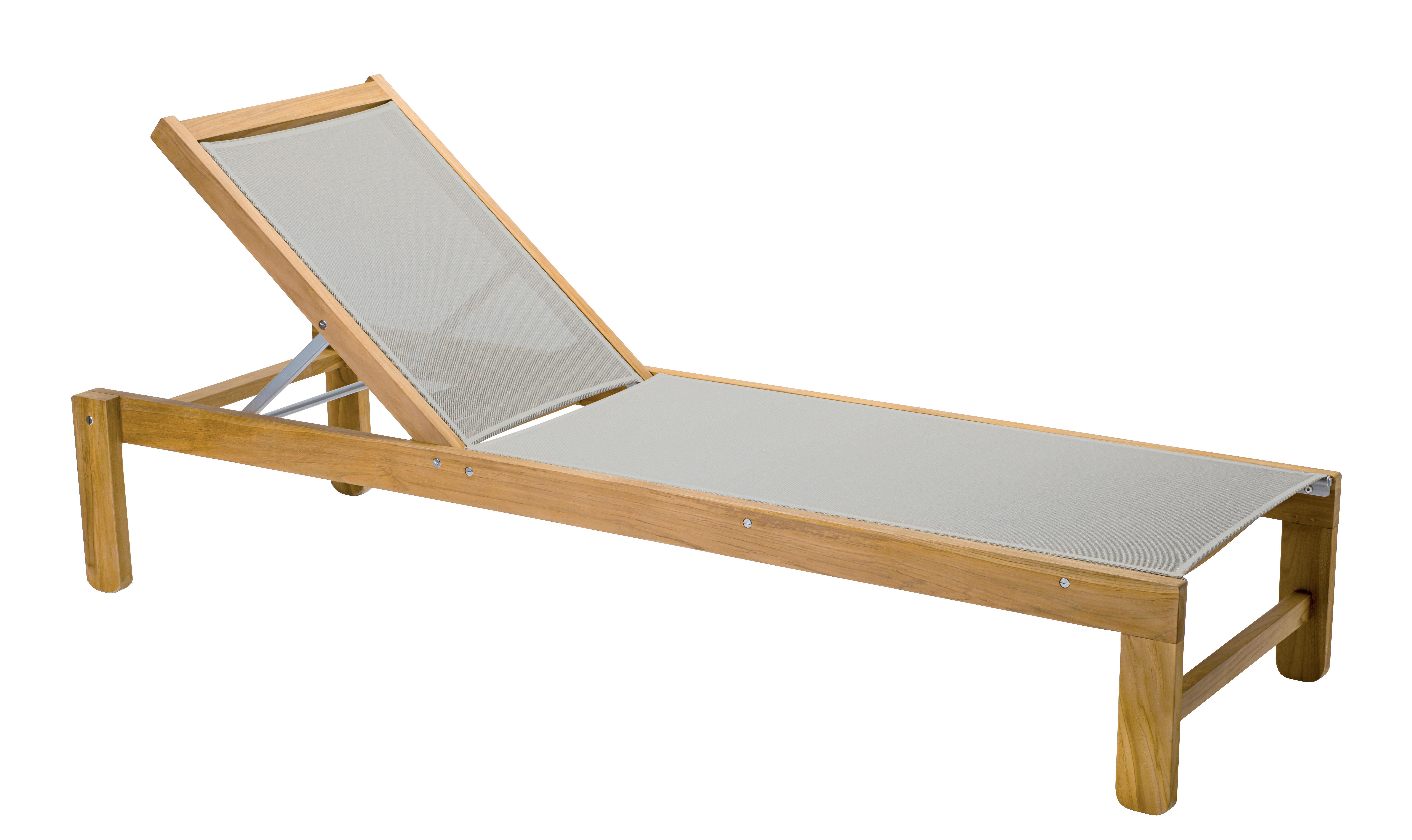 Outdoor - Sun Loungers & Hammocks - Ibiza Sun lounger - / Multi-position - Stackable by Vlaemynck - Teak / Taupe cloth - Aluminium, Teck non huilé, Toile textile