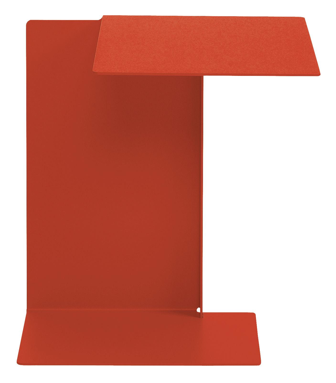Mobilier - Tables basses - Table d'appoint Diana B / Plateau à droite - ClassiCon - Rouge corail - Acier inoxydable verni