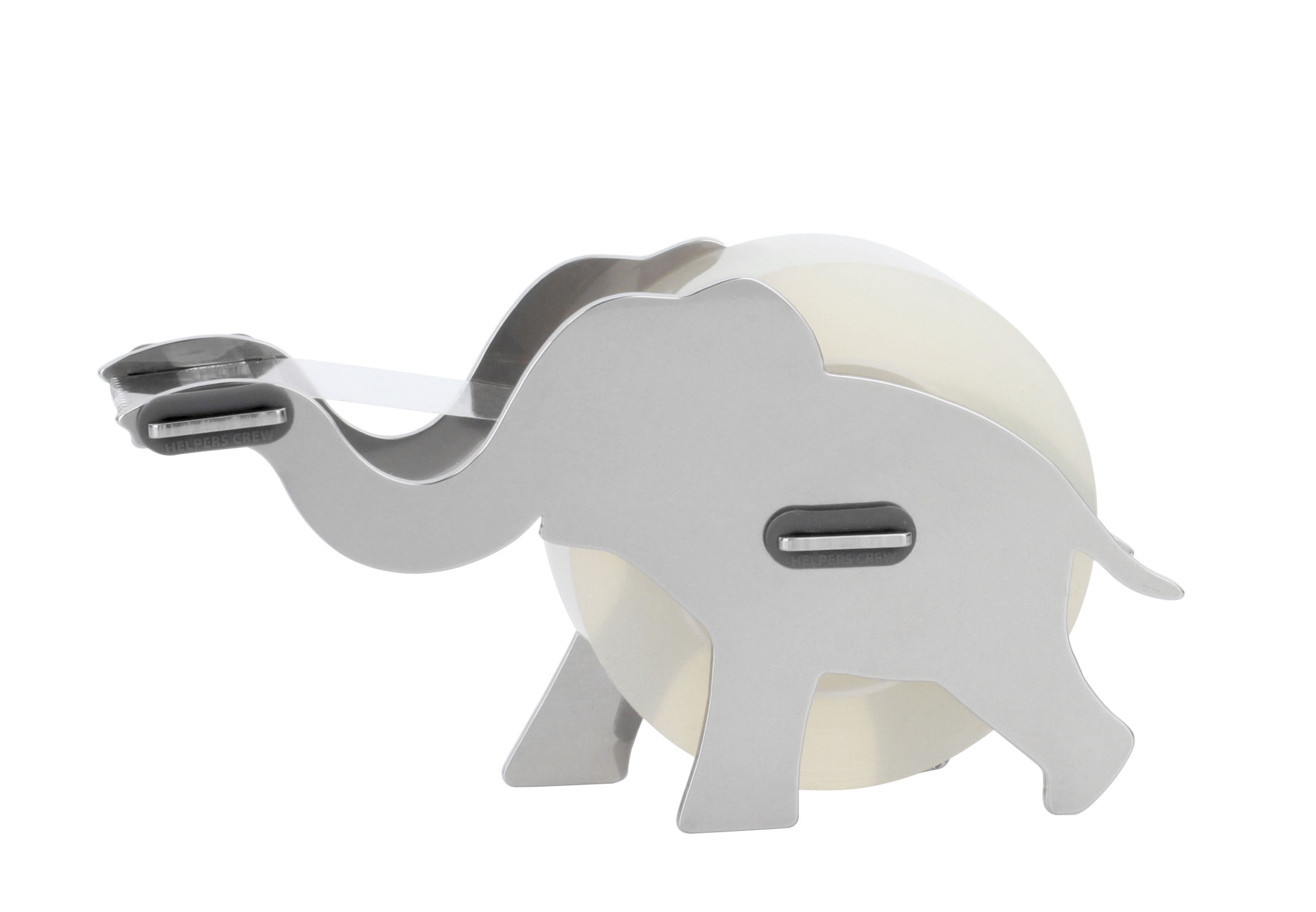 Accessories - Desk & Office Accessories - Elly Tape dispenser - / Elephant - Steel by Pa Design - Chromed - Silicone, Stainless steel