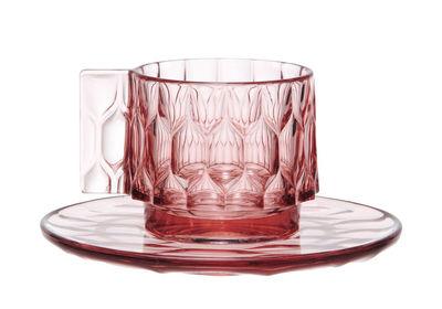 Tasse à café Jellies Family / Set tasse + soucoupe - Kartell rose en matière plastique