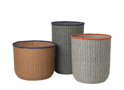 Decoration - Boxes & Baskets - Braided Baskets - / Set of 3 - Woven paper by Ferm Living - Pink, grey & green - Woven paper