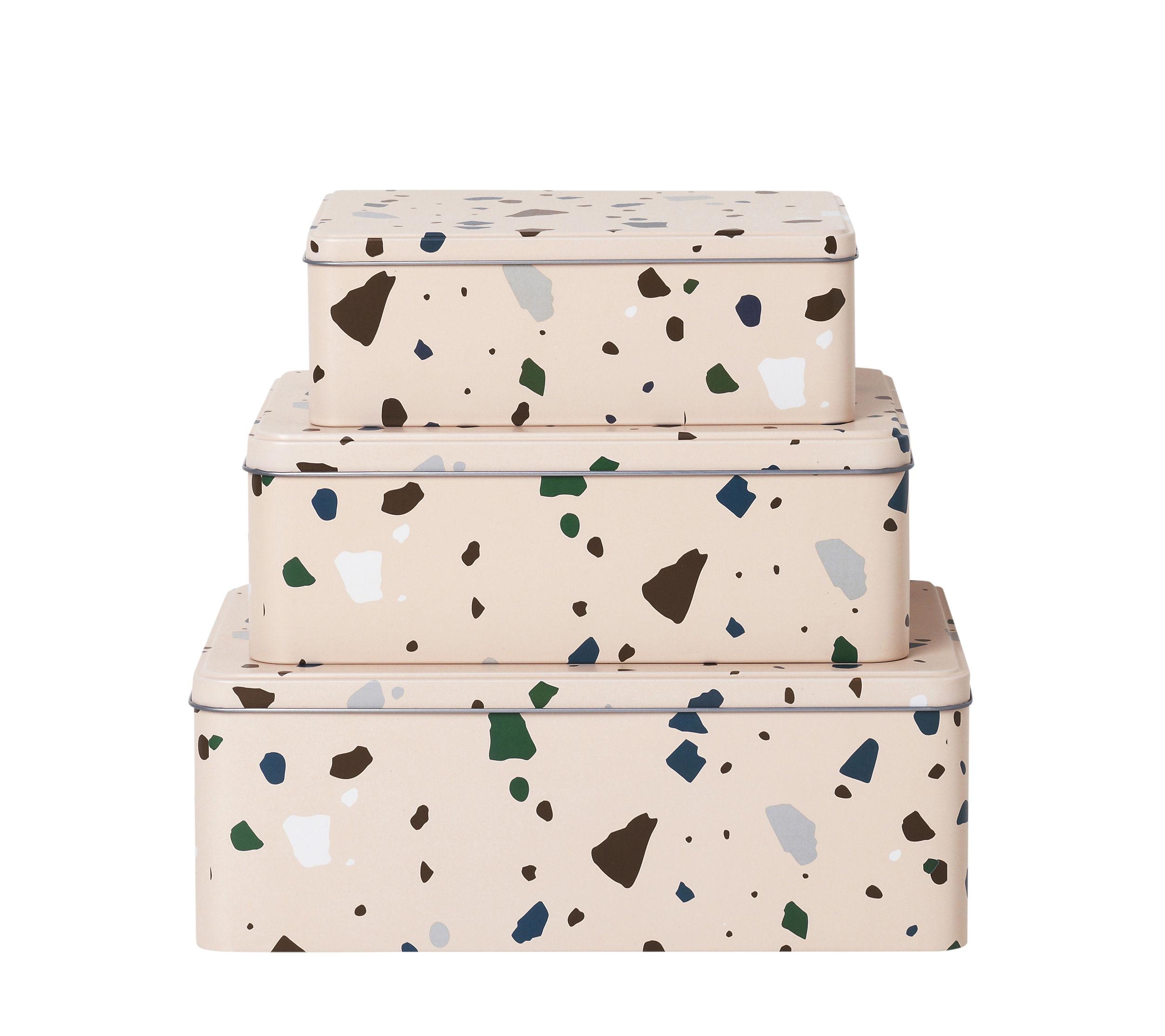 Déco - Pour les enfants - Boîte Tin / Set de 3 - Métal effet Terrazzo - Ferm Living - Terrazzo / Rose - Fer blanc