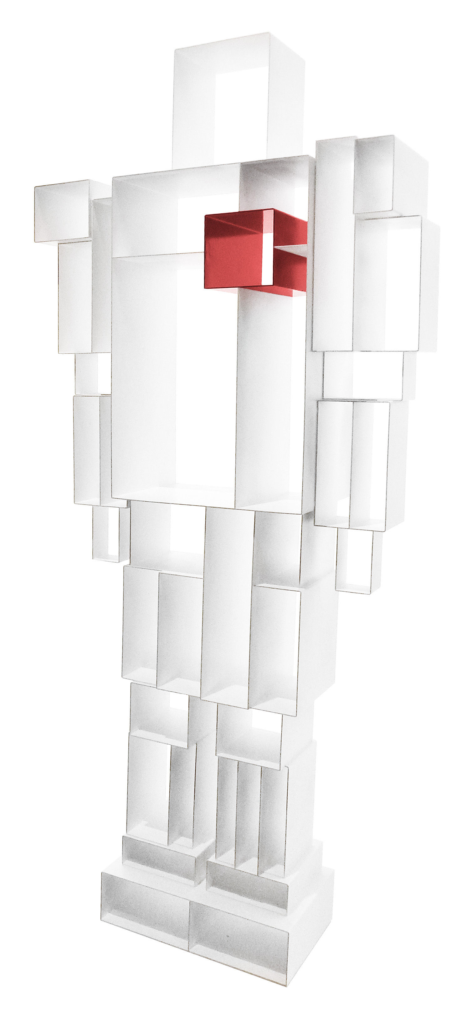 Furniture - Bookcases & Bookshelves - Robox Bookcase - L 78 cm x H 184 cm by Casamania - White / Red heart - Painted metal
